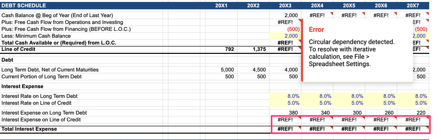 financial model template error