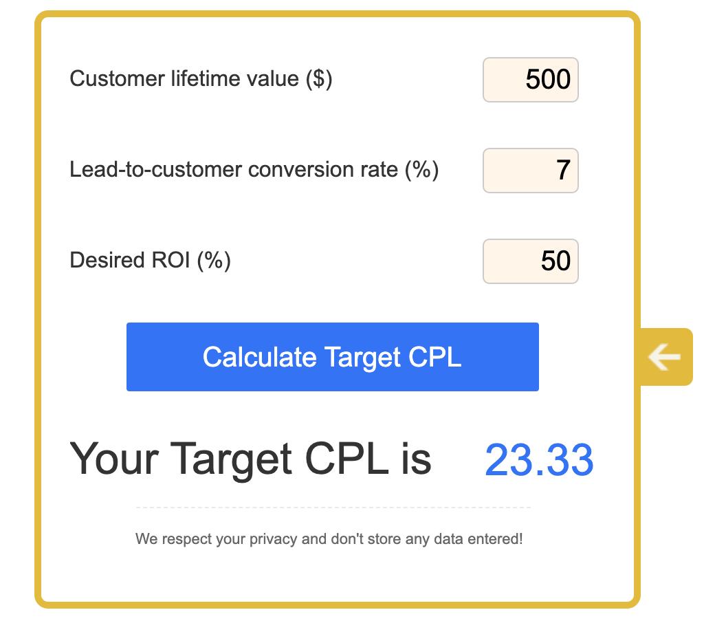 target cpl calculator