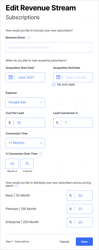 revenue driver - financial planning