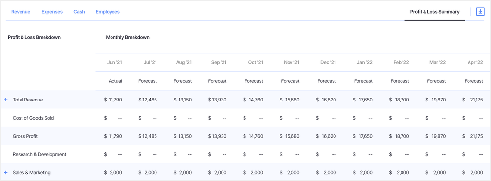 rolling forecast example profit and loss